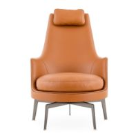 Guscioalto Soft Leather Arm Chair by Flexform front view