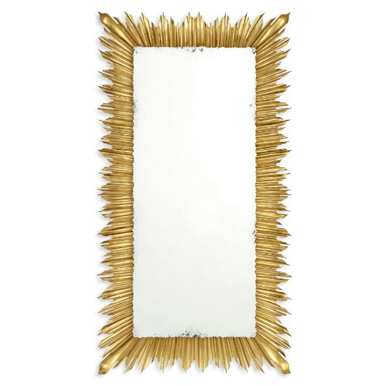 Picture of Gilded floor standing rectangular sunburst mirror by Jonathan Charles