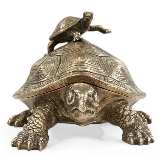 Picture of Antique Light Brown Brass Turtle Container by Jonathan Charles