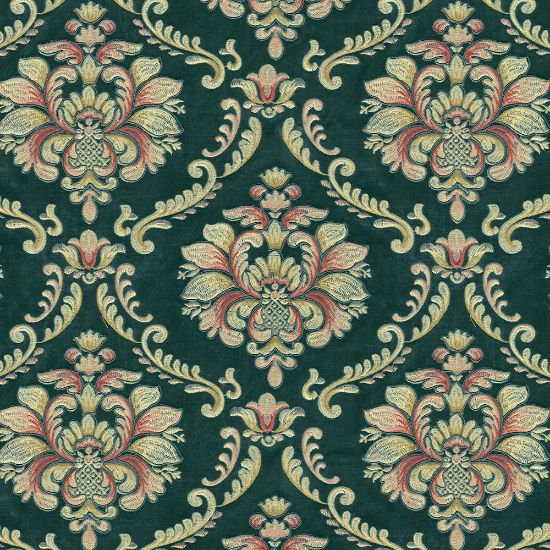 Picture of Velvet Spring Field Classic Floral Embroiderd Green